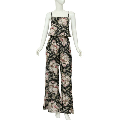 Elan Floral Printed Round Neck Sleeveless Jumpsuit Dress Small S