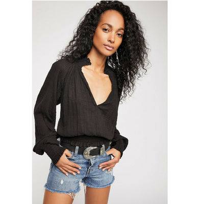 Free People Fp One Solid Smocked Blouse Top S