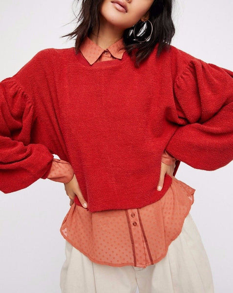 Free People Sleeves Like These Pullover Top M