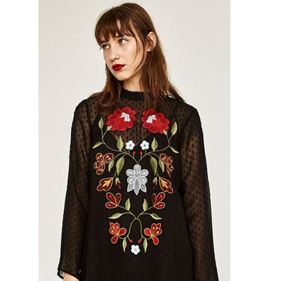 Zara Embroidered Plumeti Blouse Top Floral Holiday Sheer Boho Black S