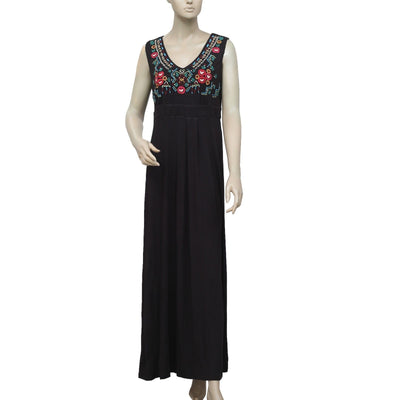 New Caite Floral Embroidered V Neck Sleeveless Black Long Maxi Dress XS