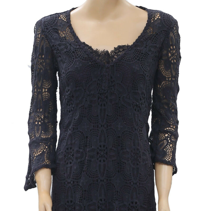 Odd Molly Anthropologie Peace Please Mini Dress Navy  S