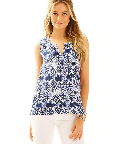 Lilly Pulitzer Larissah Blouse Printed Tank Top S