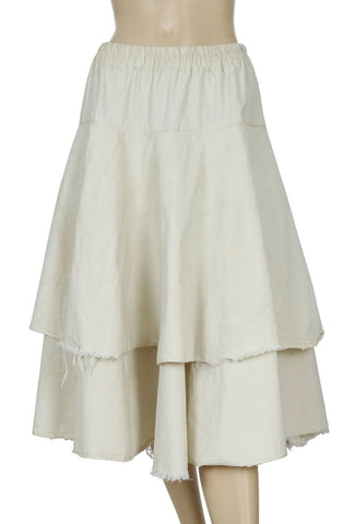 Ewa I Walla Lagenlook Beige Cotton Skirt Medium M