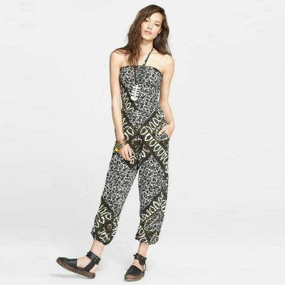 Free People Balloon Gauzy Print Smocked Jumpsuit Halter Dress XS
