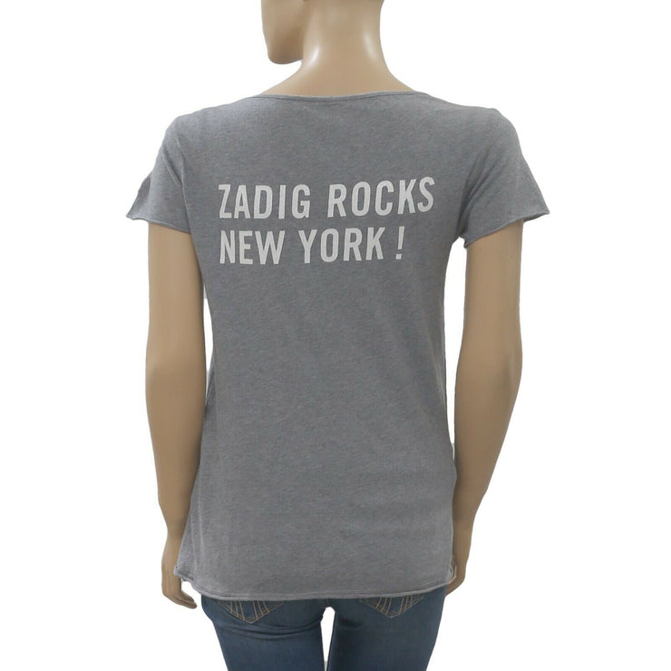 Zadig & Voltaire Printed Girls Gray T-Shirt Blouse Top XS