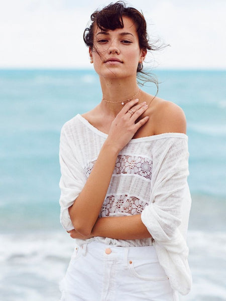 Free People I'm Your Baby White Top S