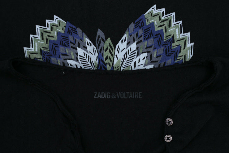 Zadig & Voltaire Butterfly Printed Black T-Shirt Top XS