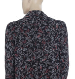 Maeve Anthropologie Printed Black Shirt Blouse Top S US 4