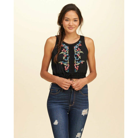 Hollister Floral Embroidered Peasant Crop Tank Top Crochet Black Lace M