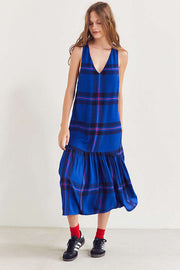Cooperative Drop Waist Plaid Midi Dress XS