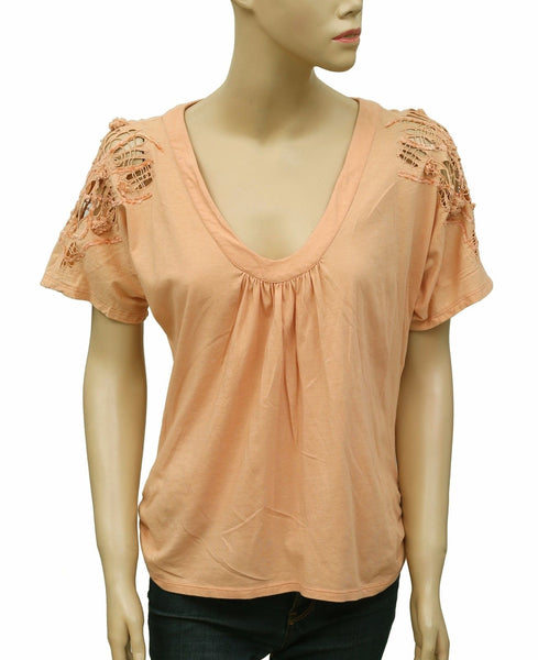 Anthropologie Patchwork Cutout Peach Blouse Top S