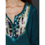 Free People Tiger Eyes Sequin Henley Top XS