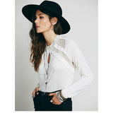 $78 Free People New Romantics Ruby Jane Tee Lace Ivory Blouse Top XS
