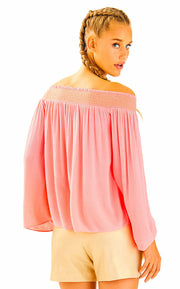 Lilly Pulitzer Katya Off Shoulder Coral Blouse Top Embroidered Evening XS