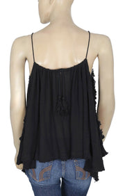 Free People Endless Summer Sexy Back Blues Tunic Black Lace Top XS