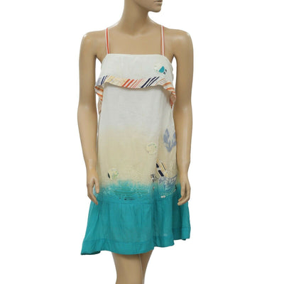 Miss Sidecar Dip Dye Embroidered Mini Tunic Dress M