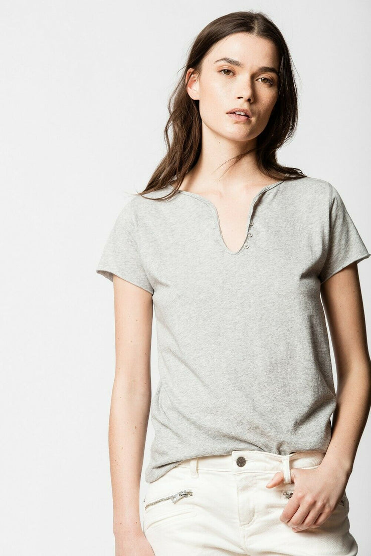 Zadig & Voltaire Tunisien Girls Gray T-Shirt Blouse Top S