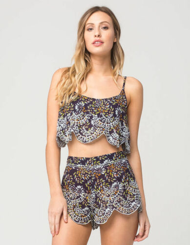 Free People So Much Fun Eyelet Print Cami Top Shorts Set S