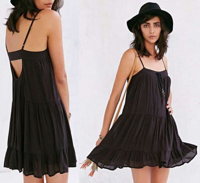 Ecote Urban Outfitters Maddie Tiered Sundress Black Dress S