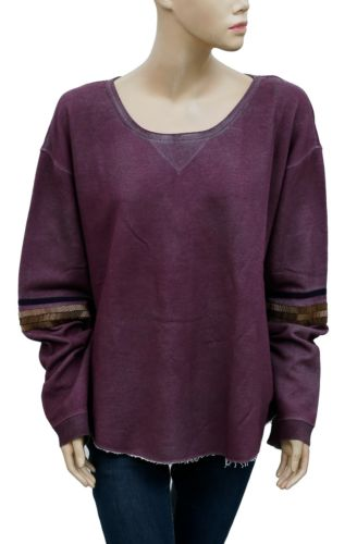 Free People Harper Raw Hem Sweatshirt Pullover Blouse Top XS