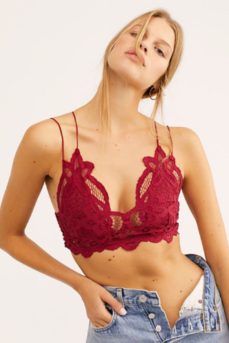 Free People FP One Adella Bralette Crop Top Embroidered Lace Maroon S
