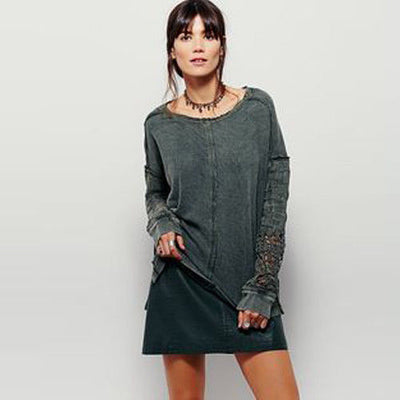 Free People Caravan Crochet Pullover Tunic Top Green Sweatshirt M