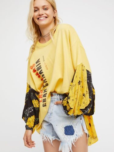 Free People Sunkissed Printed Pullover Top M L