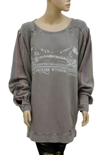 Free People Ripped Graphic Sweatshirt Pullover L