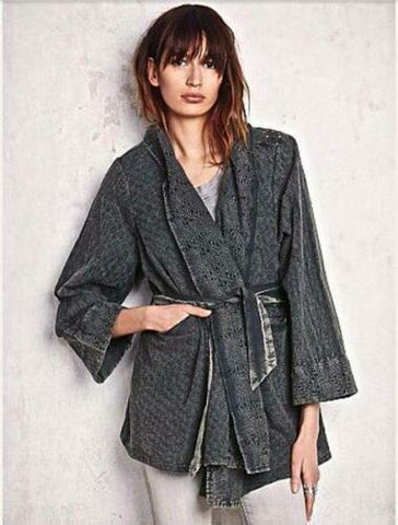 Free People Distressed Eyelet Swing Belted Cotton Cardigan Jacket Top M