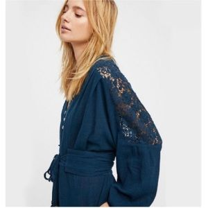Free People Jumpsuit Crochet Cotton Jumper Playsuit Kimono Teal Boho XS