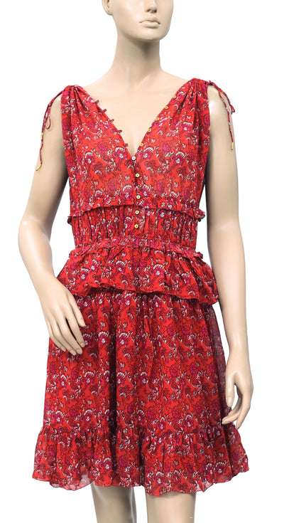 Ulla Johnson Noelle Printed Silk Georgette Dress M 10