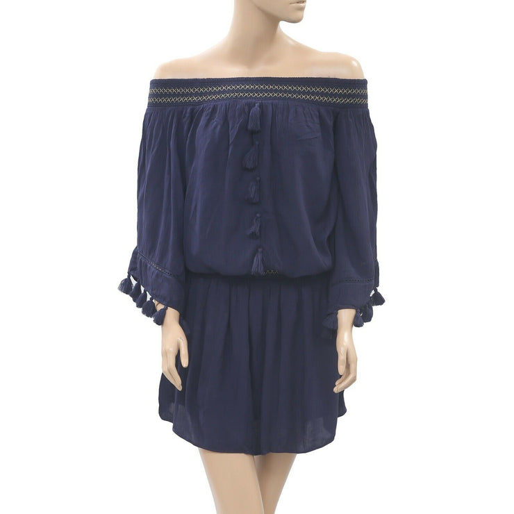 "Lilly Pulitzer ""Joelle"" Off The Shoulder Dress Navy Smocked Tassel XXS Nw"
