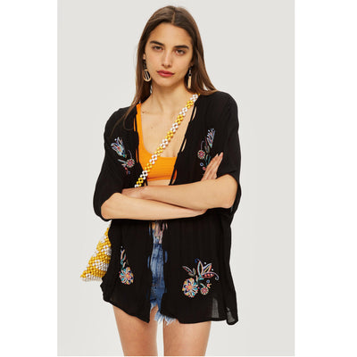 Topshop Floral Embroidered Kaftan Tunic Top M