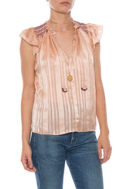 Ulla Johnson Deja Striped Smocked Flutter Top S