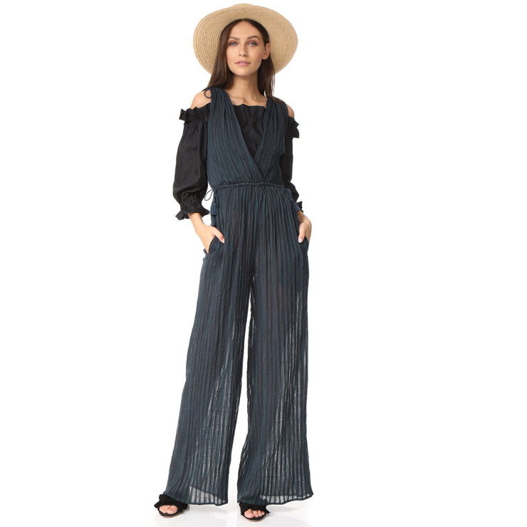 Ulla Johnson Tallis Wide Leg Jumpsuit Striped Cotton Pocket Sheer M