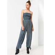 Urban Outfitters Blue Uo Strapless Smocked Printed Tube Jumpsuit S