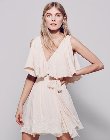 $168 Free People Sylvia Embroidered Beaded Wrap Peach Mini Dress XS