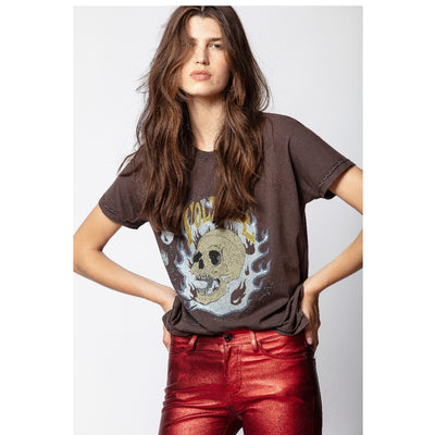 Zadig & Voltaire Tom Strass Flamme T-shirt Top L