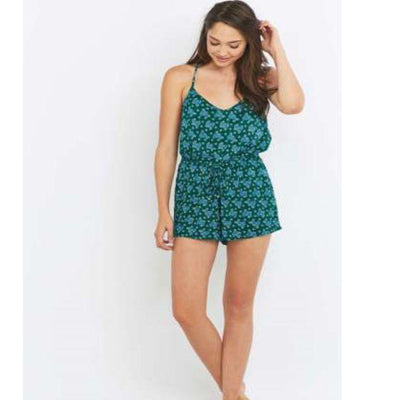Staring at Star Anthropologie Open Back Printed Green Romper Dress S