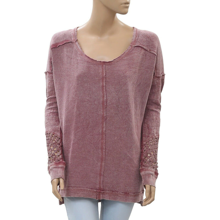 Free People Caravan Crochet Cutout Pullover Oversized Tunic Top S