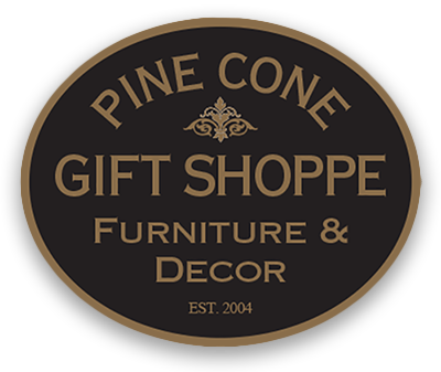 Pine Cone Gift Shoppe Furniture & Decor Oval Black & Gold Logo with Vintage Style Letting