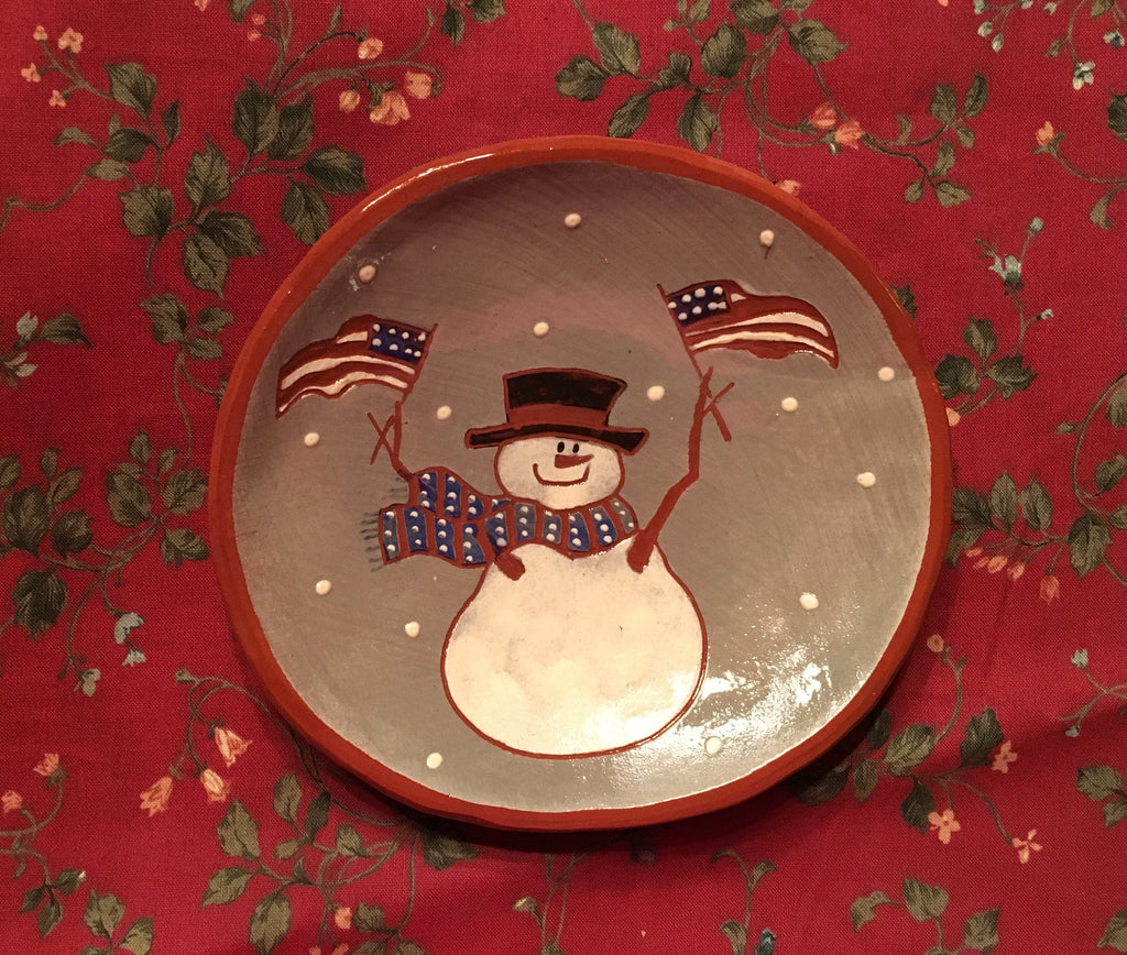 Frosty with Flags Round Plate