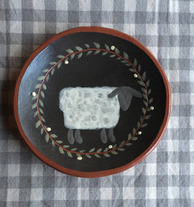 Round Redware Plate with White Sheep