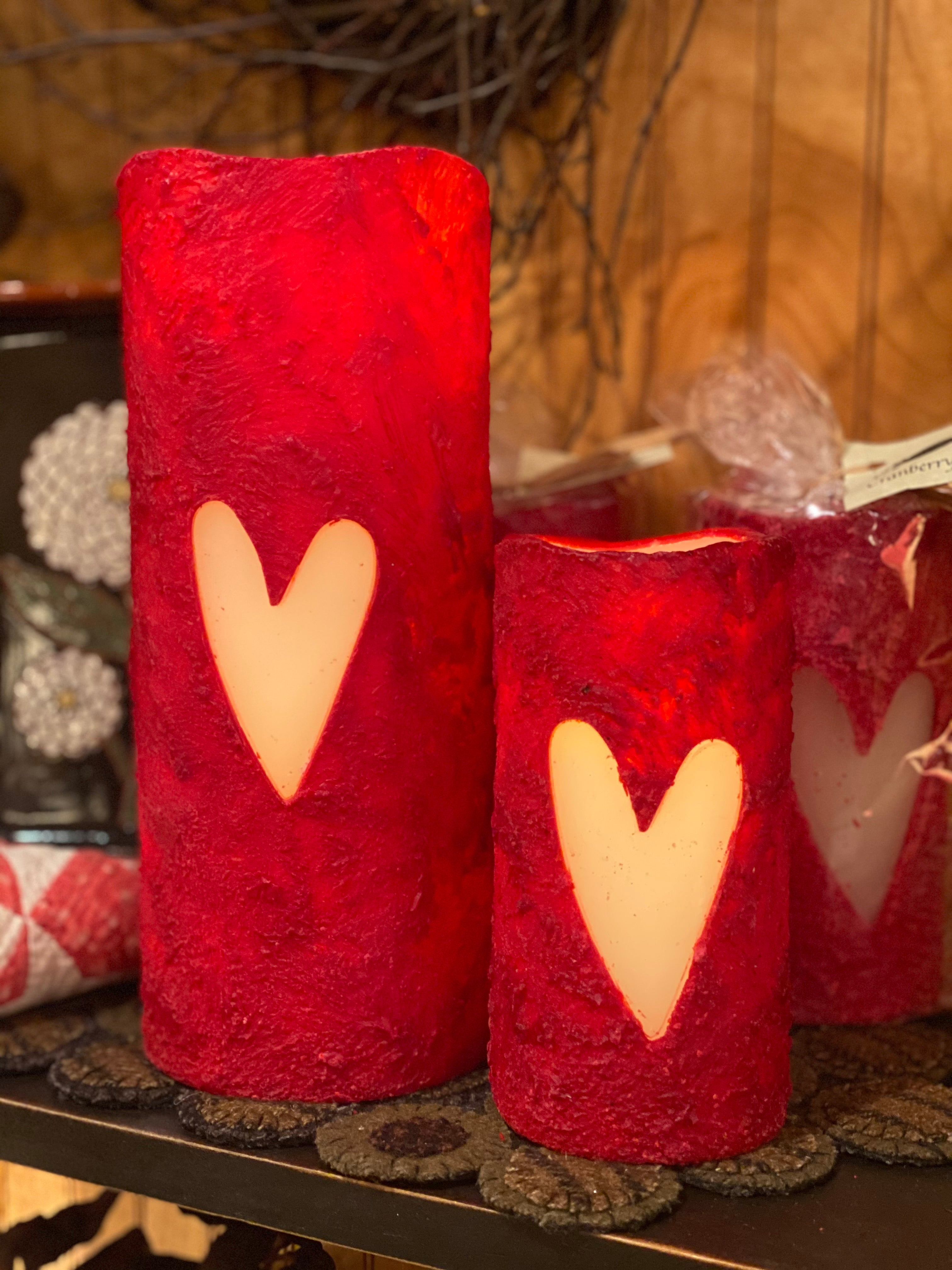 Valentine Heart Grungy Flameless/Battery Operated Candles
