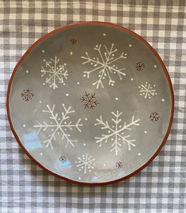 Snowflakes on Grey Charger Plate