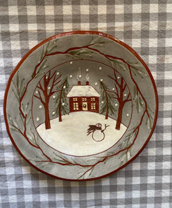 Home with Frosty Round Redware Plate