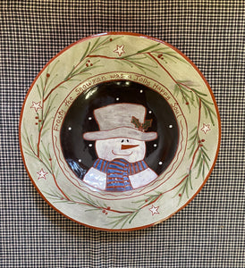 Frosty the Primitive Snowman Redware Plate
