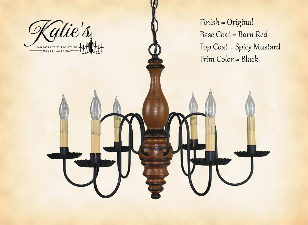 Anderson Chandelier -Barn Red/Spicy Mustard Crackle/Black