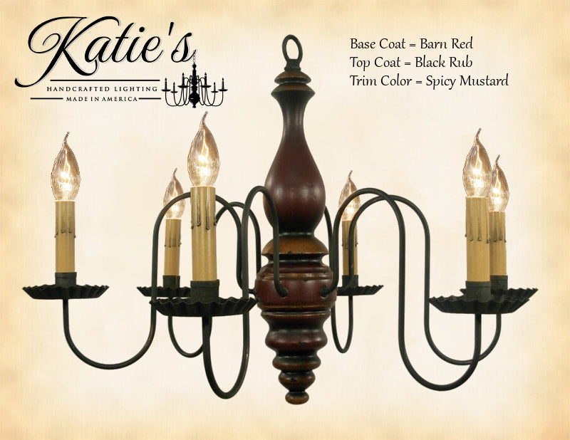 Anderson House Chandelier -Barn Red/Black Rub/Spicy Mustard